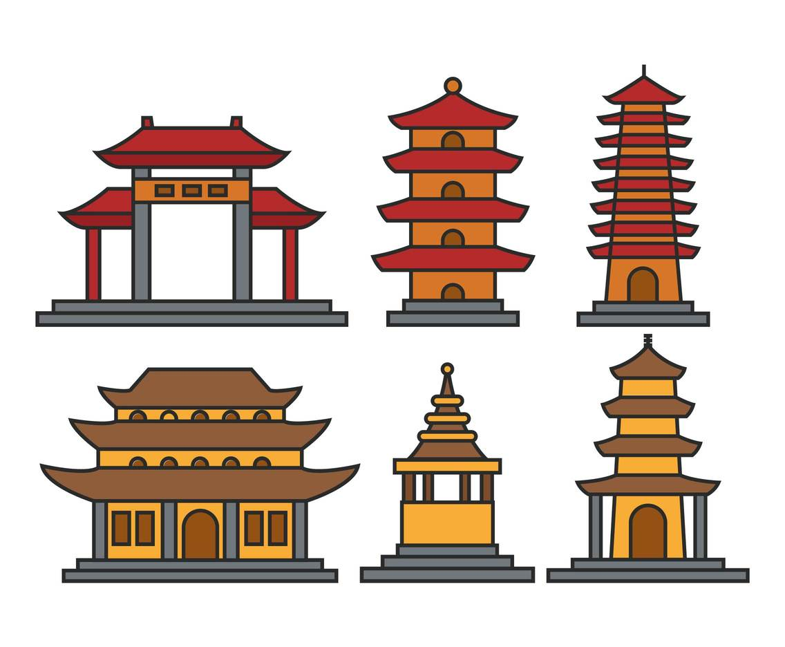 1136x936 Pagoda Illustration Set Vector Vector Art Amp Graphics