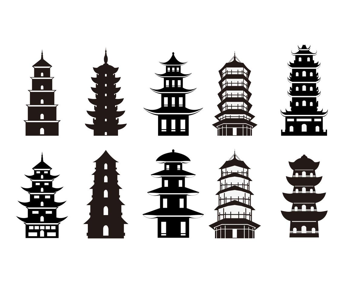 1136x936 Pagoda Symbol Silhouette Vector Set Vector Art Amp Graphics