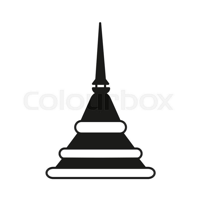 800x800 Pagoda Silhouette Icon. Thailand Pagoda Vector Illustration