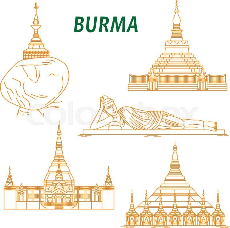 800x794 Popular Buddhist Pilgrimage And Tourist Sites Of Myanmar Symbols