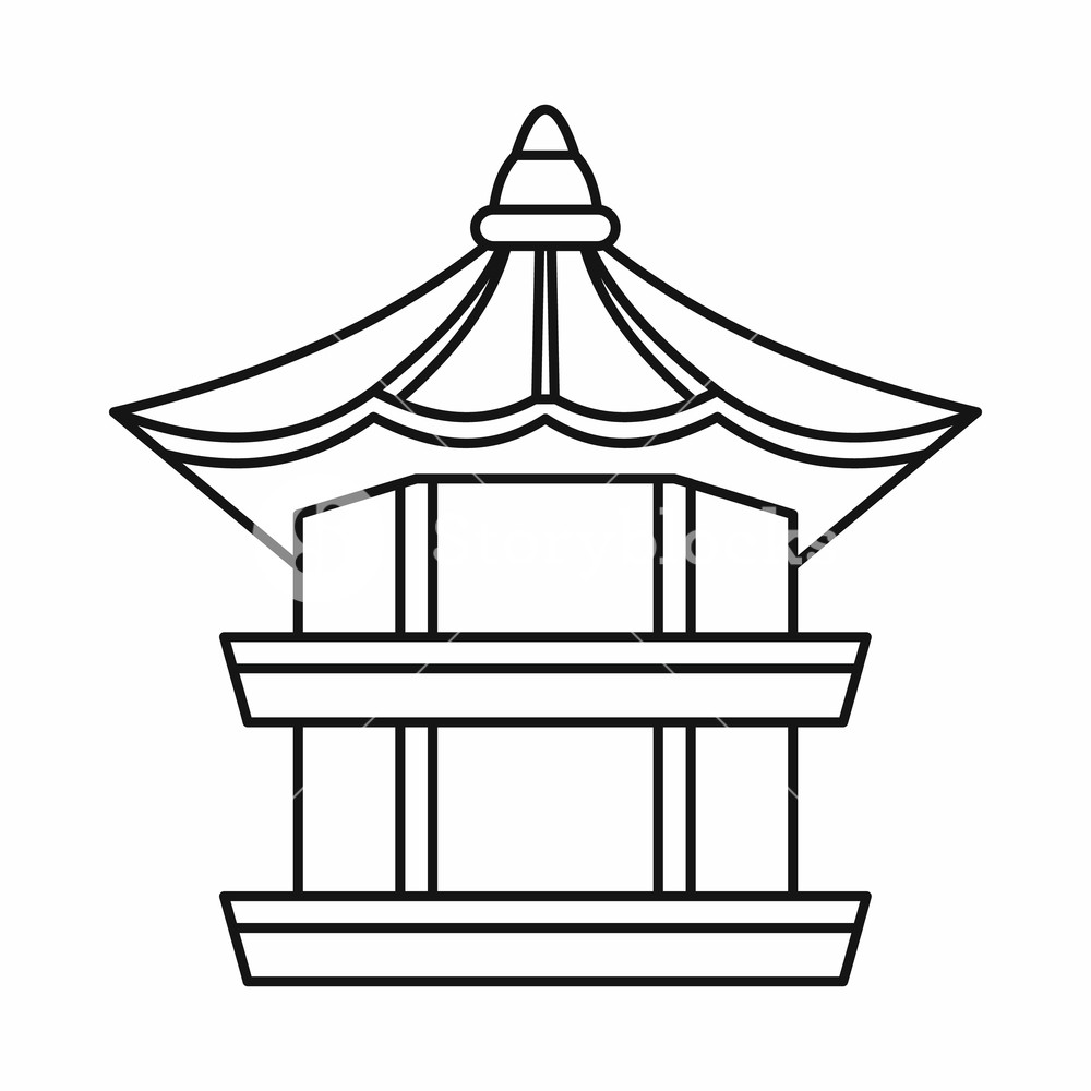 1000x1000 Traditional Korean Pagoda Icon In Outline Style Isolated On White