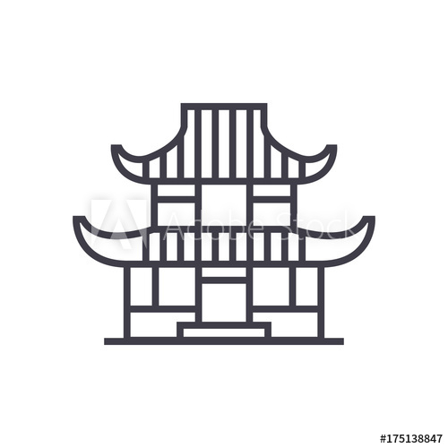 500x500 Pagoda Vector Line Icon, Sign, Illustration On White Background