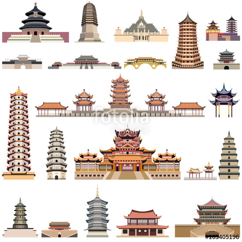 500x500 Vector Collection Of Chinese Pagodas And Ancient Temples And