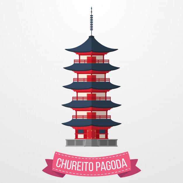 626x626 Chureito Pagoda Icon On White Background Vector Premium Download