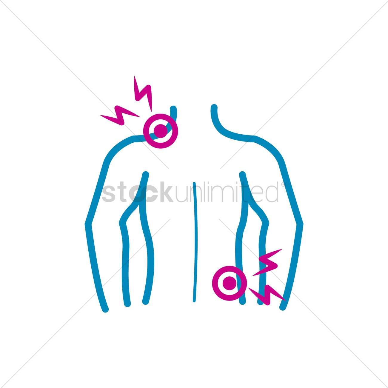 1300x1300 Human Body With Back And Shoulder Pain Vector Image