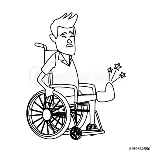 500x500 Cartoon Man Sitting Wheelchair With Fractured Leg Suffering From