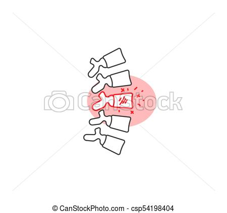 450x421 Back Pain Vector Illustration Icon With Red Circle.