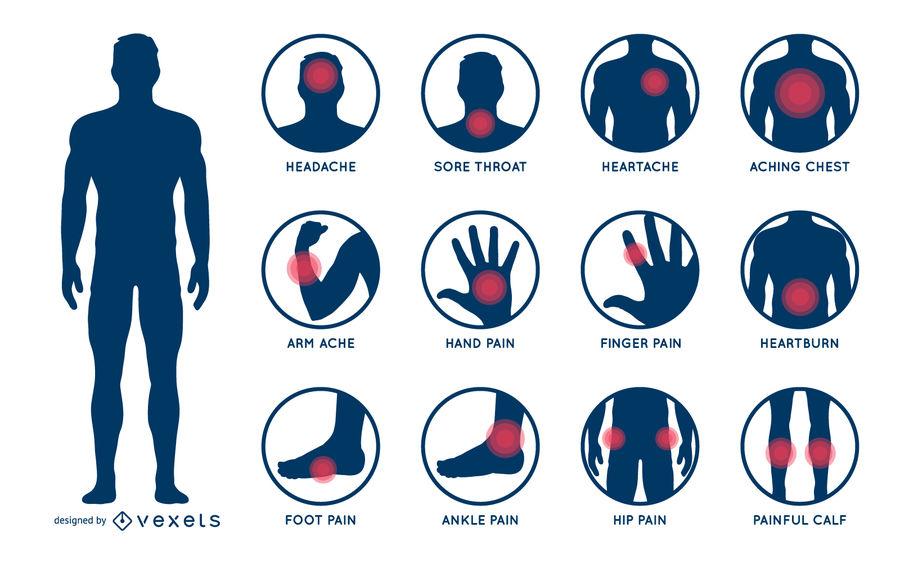 900x563 Body Pain Illustration Set