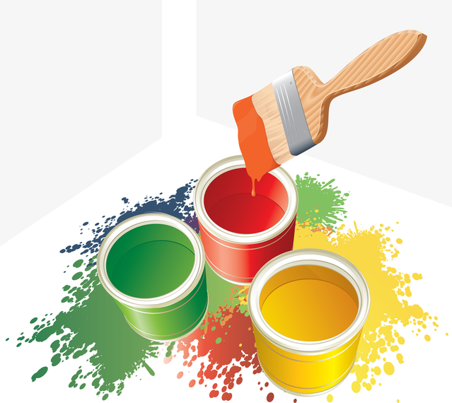 639x570 Vector Colorful Paint Bucket