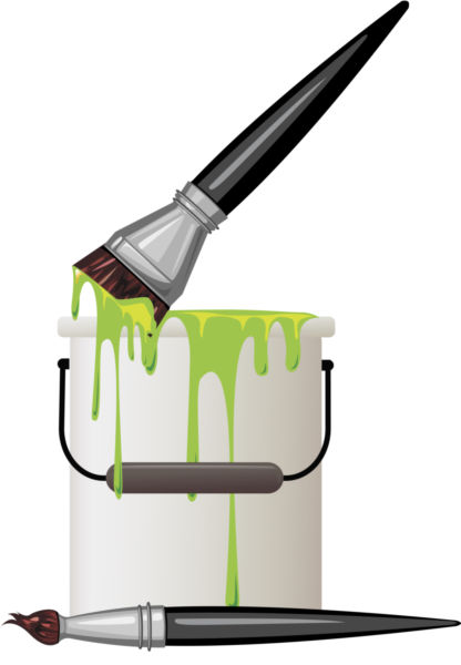 416x600 Vector Paint Bucket And Brush