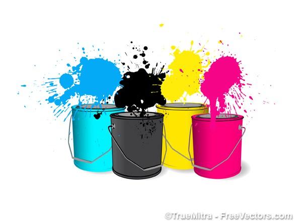 600x444 Download Free Cmyk Paint Buckets Vector Illustration