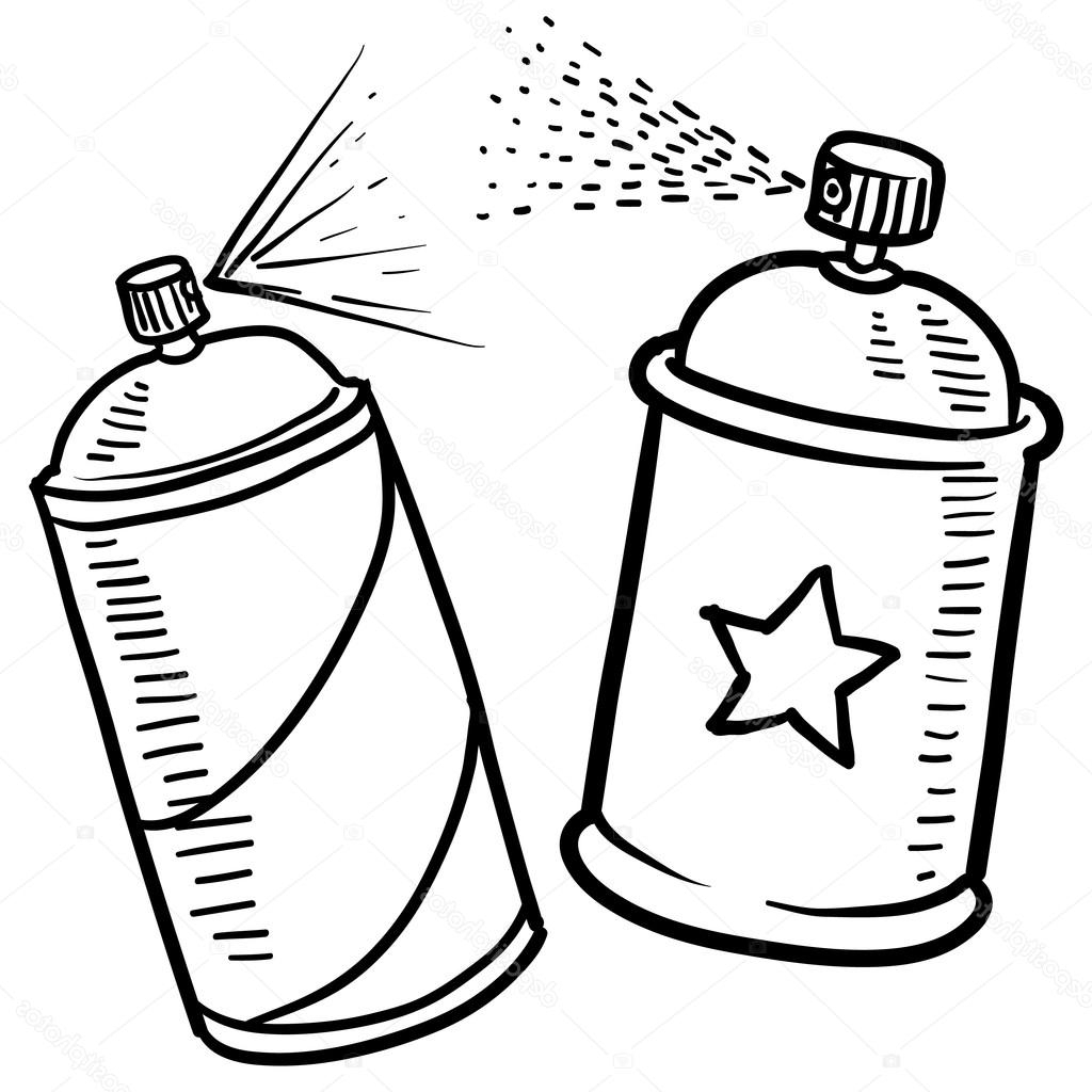 1024x1024 Spray Paint Can Art Spray Paint Can Sketch Stock Vector