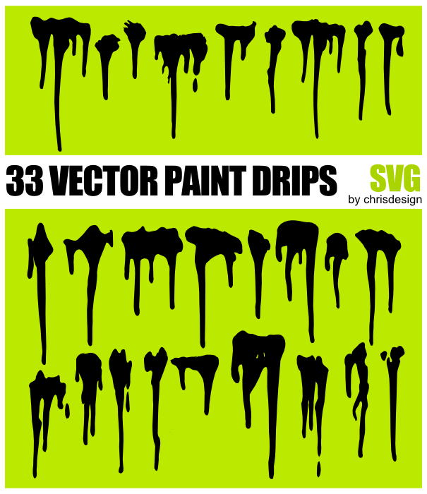 605x700 33 Vector Paint Drips By Chrisdesign