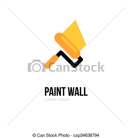 450x470 Paint Roller Logo Icon Design Template. Vector Paint Roll Logo