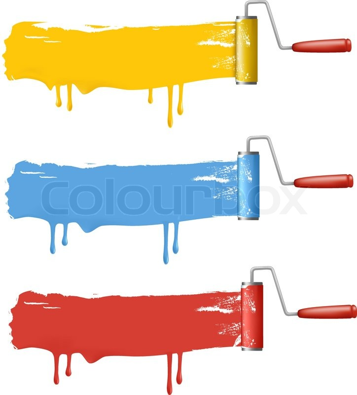 724x800 Set Of Colorful Paint Roller Brushes. Vector Illustration. Stock