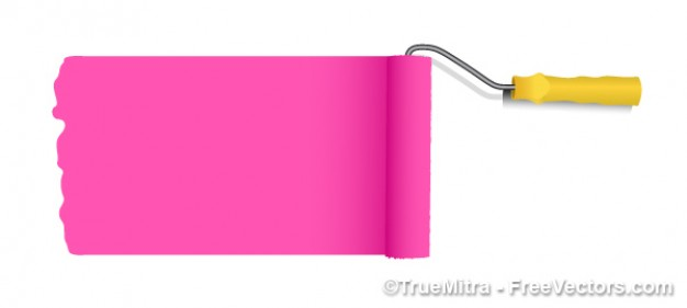 626x281 Vector Pink Paint Roller Vector Free Download