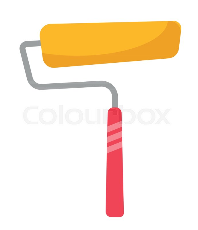 690x800 Yellow Paint Roller Vector Cartoon Illustration Isolated On White