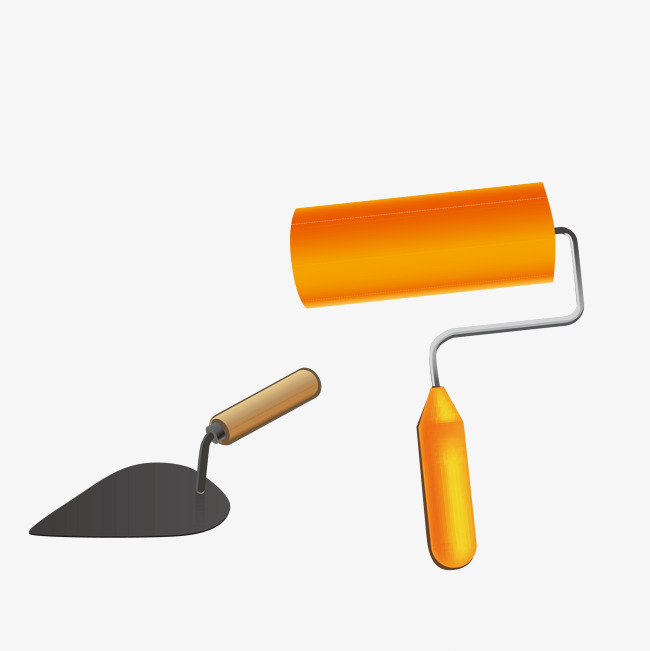 650x651 Construction Roller And Shovel Vector, Roller And Shovel, Paint