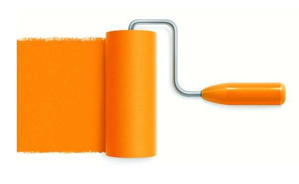 604x372 Free Orange Paint Roller Vector