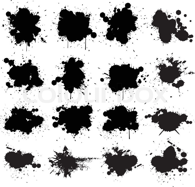 800x768 Black Ink Splat Isolated On White Collection Set Stock Vector