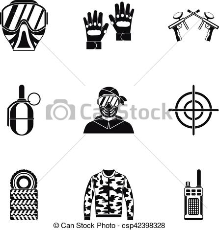 446x470 Competition Paintball Icons Set, Simple Style. Competition