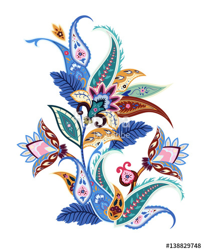 407x500 Abstract Flowers Paisley Print. Floral Ornament, For Fabric
