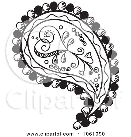 450x470 Paisley Print Clipart Black And White Vector