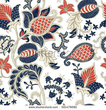 450x470 Seamless Pattern With Fantasy Flowers, Natural Wallpaper, Floral