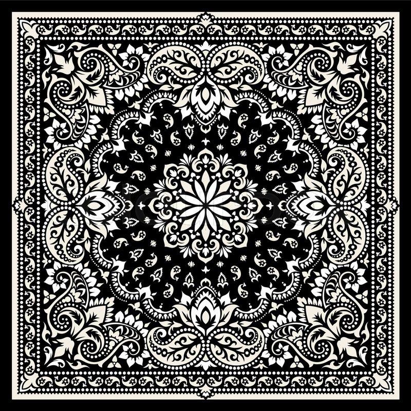 800x800 Vector Ornament Paisley Bandana Print, Silk Neck Scarf Or Kerchief