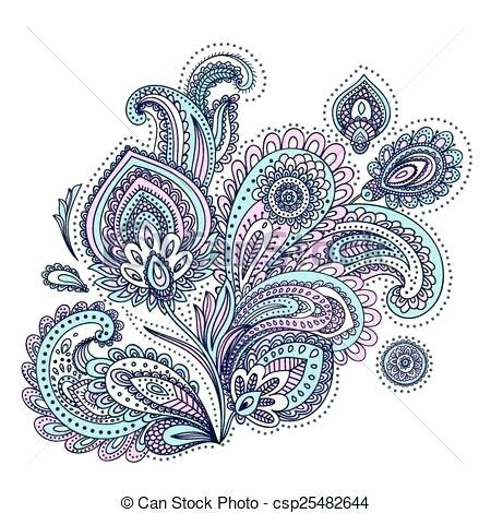 450x470 Free Paisley Clip Art Henna Paisley Doodles Abstract Floral Vector