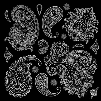 425x425 Set Of Black And White Paisley Pattern Vector Graphics Vector