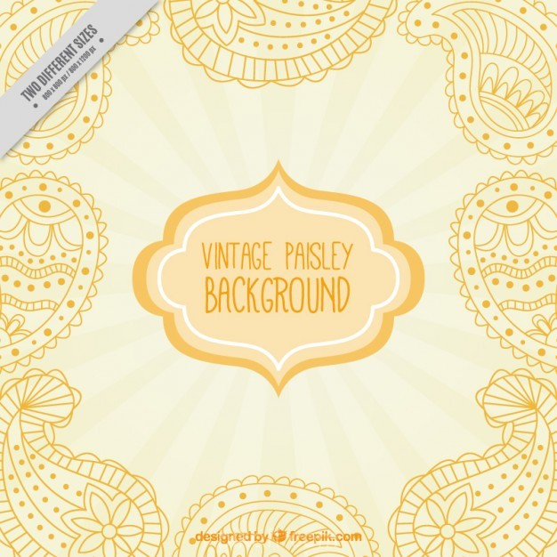 626x626 Ai] Hand Drawn Yellow Paisley Background Vector Free Download