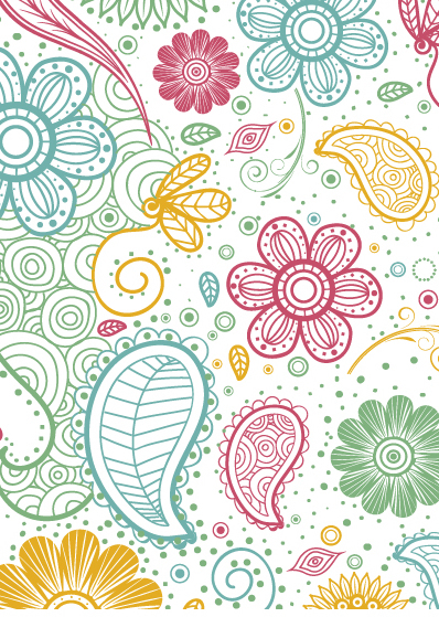 398x559 Colorful Paisley Pattern Free Vector Download 363453 Cannypic