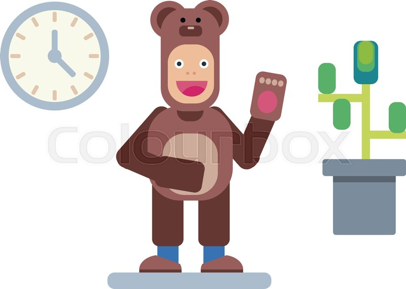 800x570 Man In Bear Pajama, Vector Man, Flat Illustration Stock Vector