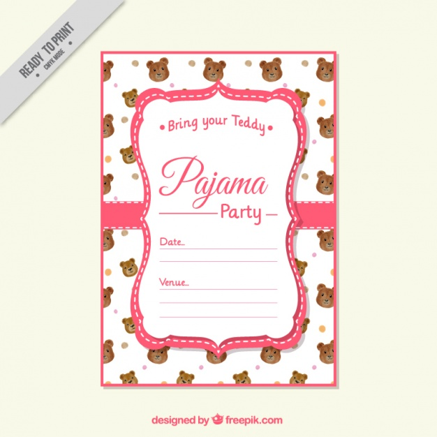 626x626 Pajama Party Invitation With Bear Vector Free Download