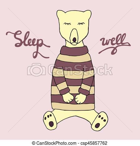 450x470 Sleep Well Illustration. Cute Sleeping Bear In Pajama And Hand