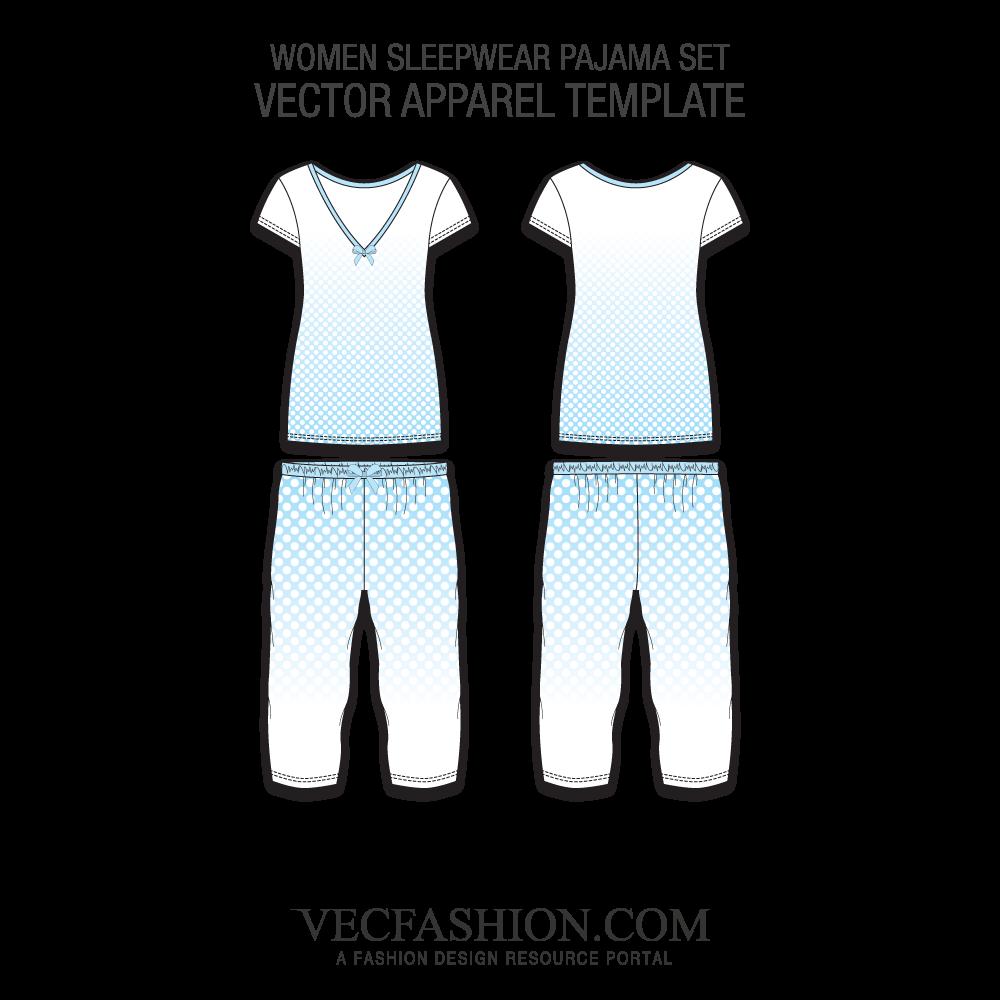1000x1000 Sleepwear Pajama Set Vector Templates