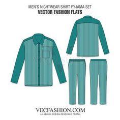 236x236 Sleepwear Pajama Set Vector Templates Flat Sketch Cadfashion