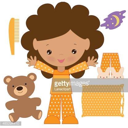 416x416 Girl In Pajama Vector Illustration Stock Vectors