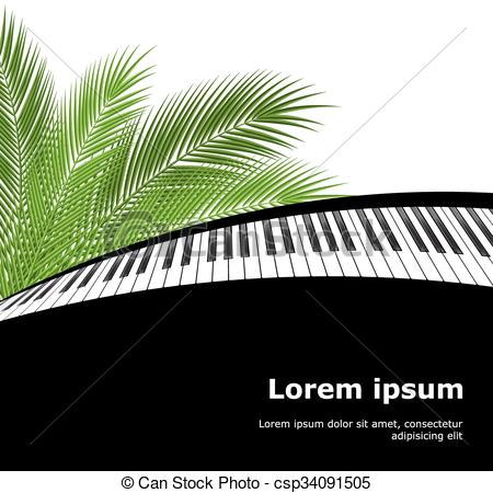 450x450 Palm Branch And Piano Template. Tropical Palm Leaves And Piano
