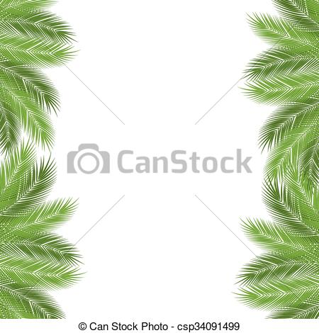 450x470 Palm Branch Template. Tropical Palm Leaves. Design Background