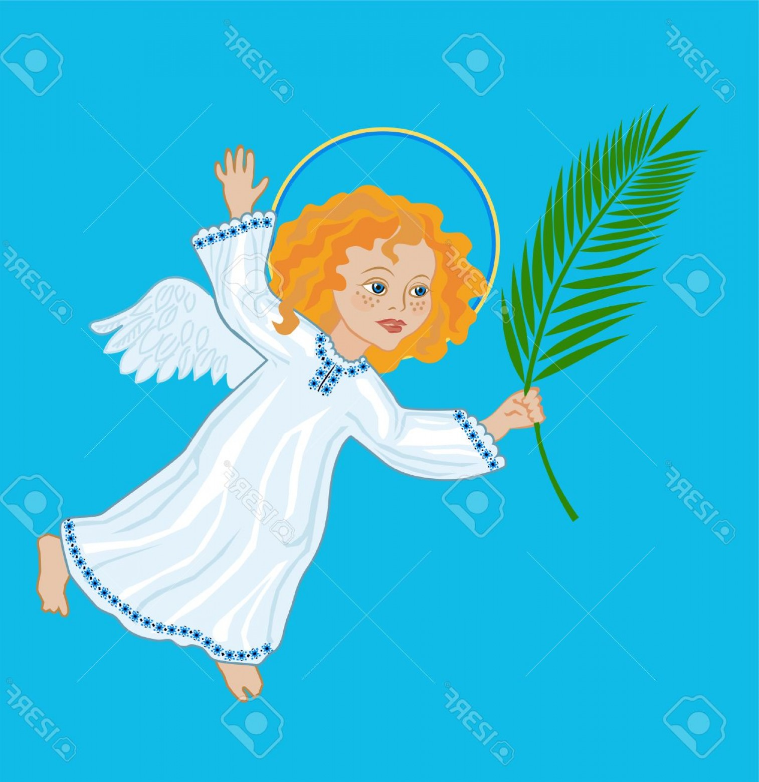 1514x1560 Photostock Vector Angel With A Palm Branch Symbolic Image Of Palm