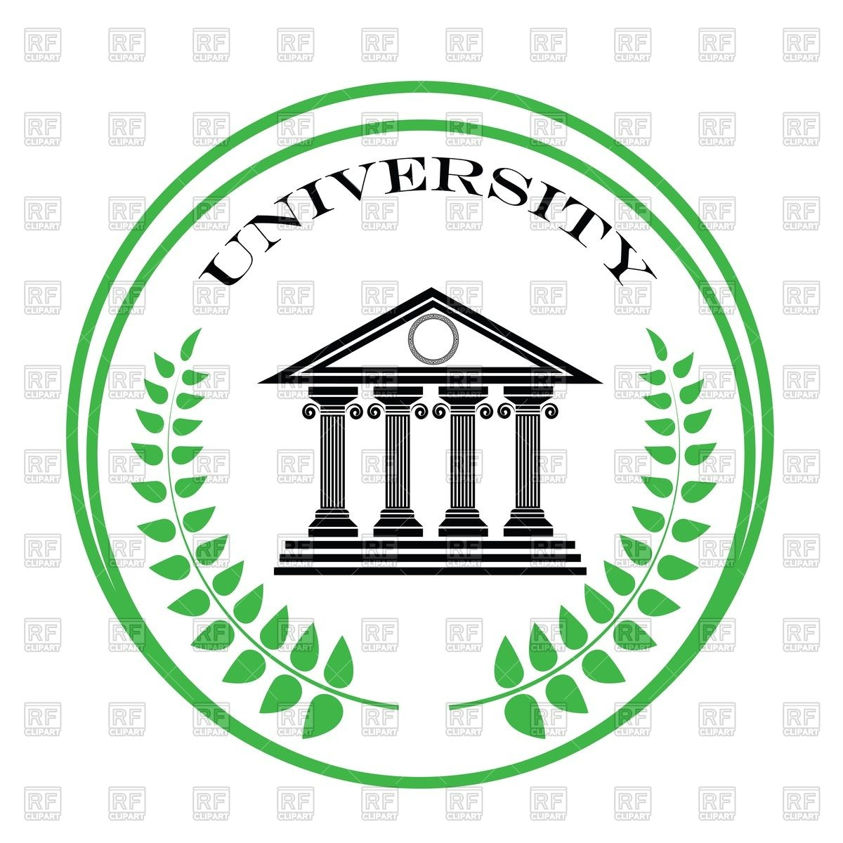 1200x1200 Round University Emblem With Ancient Greek Building And Palm