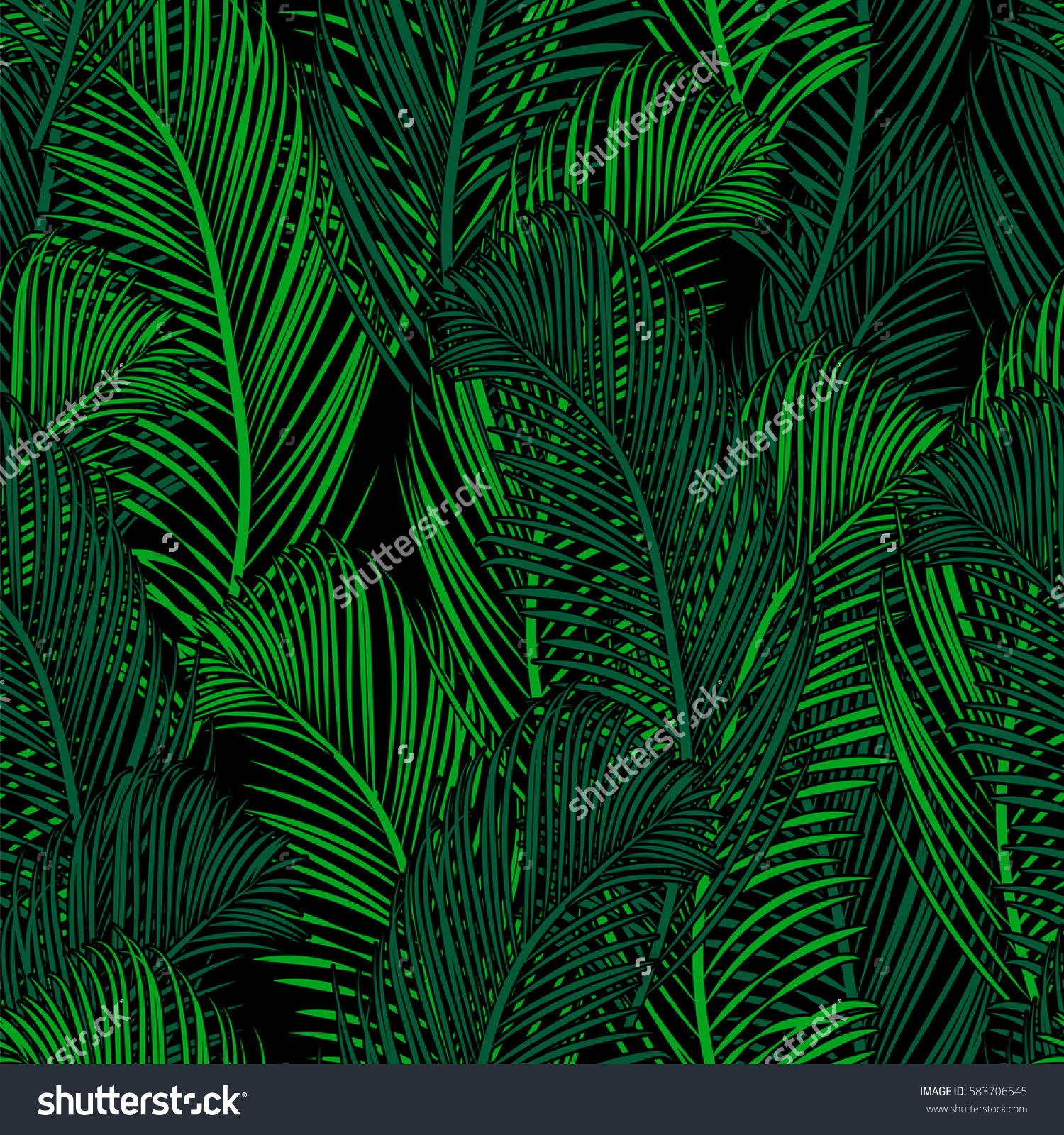 1500x1600 Seamless Tropical Pattern Of Palm Branch And Leaves. Vector