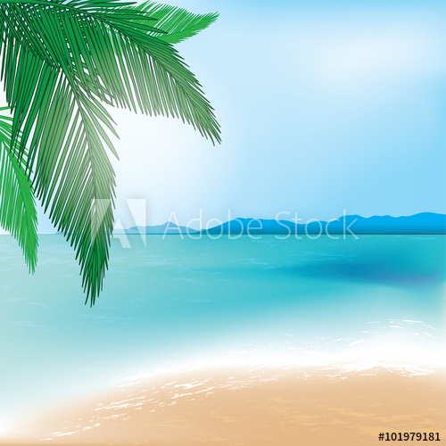 500x500 Tropical Beach And Sea Background With Palm Branch. Vector