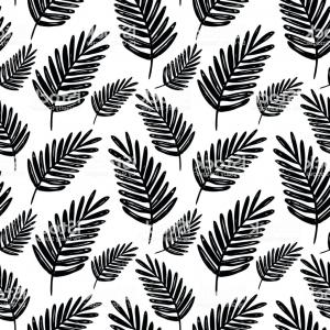 300x300 Vector Seamless Floral Pattern Black And White Hand Drawn Palm