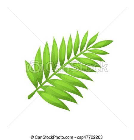 450x470 Vector Palm Leaf. Bright Cartoon Palm Leaf Icon. Palm Branch