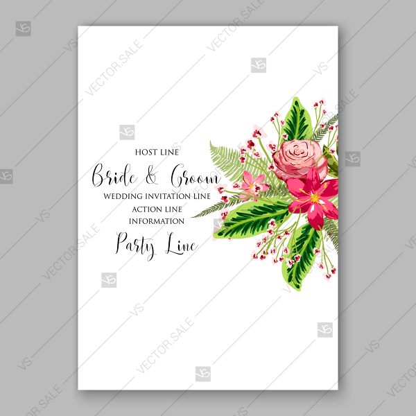 600x600 Wedding Invitation Save The Date Vector Tropical Flower Roses And