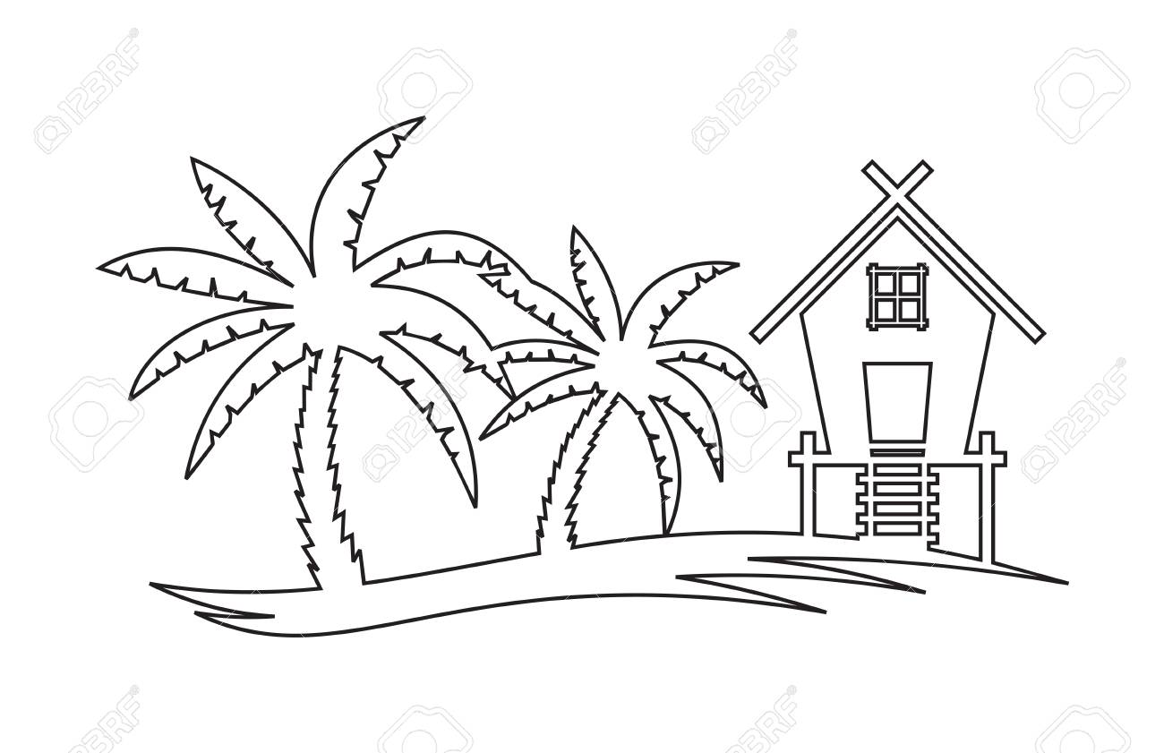 1300x841 Palm Tree Hut Clipart Black And White Amp Palm Tree Hut Clip Art