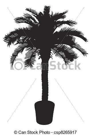 318x470 Palm Tree Silhouetter. Vector Illustration.